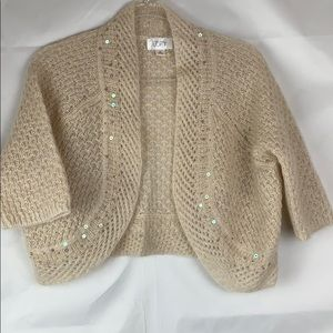 Loft cream mohair blend open cardigan shrug.